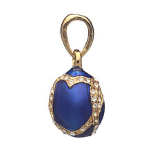 Faberge Egg Pendant / Charm with crystals 1.9 cm blue #0009-17