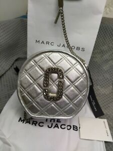 Marc Jacobs Status Round Quilted Leather Crossbody Bag silver sales
