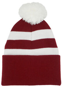 Northampton Town Supporters Claret and White Traditional Style Bobble Hat