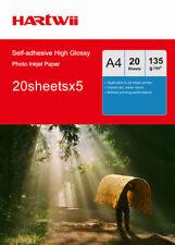 Hartwii 100Sheet A4 135Gsm Self-adhesive Stick High Glossy Photo Paper Inkjet UK