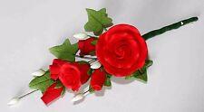 SMALL RED Tea Rose Spray, Sugar Flowers, Cake Topper, Sugarcraft, Wedding