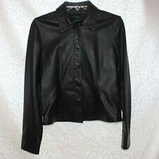 Siena Studio Women's Small Soft Black Leather Snap Front Jacket Blazer Size 4