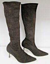 """MANOLO BLAHNIK Brown Suede """"Pascalarehi"""" Elastic Pull On Boots -Size 38.5"""