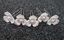 5X Grande Blanco Plateado Diamante Pasadores con Flor Boda Vintage Años 20 30