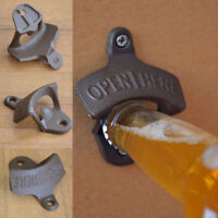 Retro Cast Iron OPEN HERE Wall Mounted Bottle Caps Opener Bar Kitchen Cola Beer