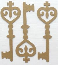 "{5} *VICTORIAN SCROLL KEY*   Bare Vintage Chipboard Die Cuts - 1 3/4"" x 5"""
