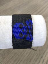 New Auth Chan Luu Black & Blue Skull Seed Bead Cuff Bracelet