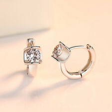 Womens Girls 925 Silver Plating Crystal Rhinestone Stud Earrings Jewelry Gifts