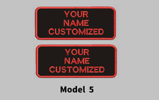 "LOGO CUSTOMIZED EMBROIDED  PATCH   4"" X 2""  text only ROUND CORNERS TWO PATCHES"