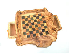 Chess set on olive wood [17 inches 43 cm] board with legs original Gift idea