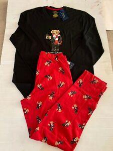 NWT POLO RALPH LAUREN BEAR LOGO 2 PIECE PAJAMA SET BLACK/RED SOLID COTTON $75.00
