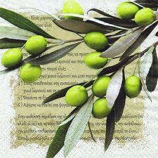 SERVIETTES EN PAPIER OLIVES GRECE ECRITURE GRECQUE. PAPER NAPKINS OLIVES GREECE
