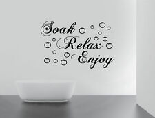 BATHROOM Sticker Decal Soak Relax Enjoy Quote Wall Art Removable DIY