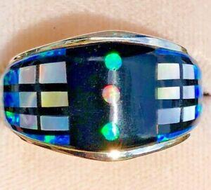Engineering MIND Men's Retro Geometric Black Blue Fire Opal Ring Sterling  12
