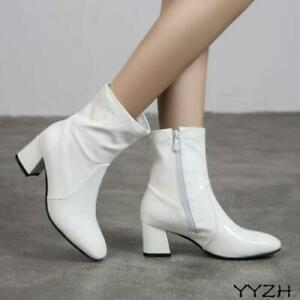 Women's Casual Square Toe Ankle Boots Patent Leather Chunky Heels Side Zip Shoes