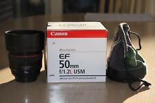 Canon EF 50mm f/1.2 USM L Lens ultrasonic in the box. Including the lens hood
