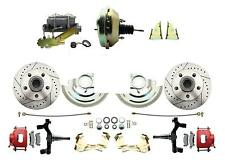 """GM 2"""" Drop Performance Disc Brake Kit, Red PC Calipers, 9"""" Delco Booster Kit"""