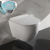 Spülrandlos Wand Hänge WC Toilette Nano Beschichtung SoftClose Sitz abnehmbar