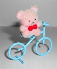BEAR in BICYCLE 80s tiny kawaii puppet - orsetto su bicicletta miniatura