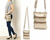 LeSportsac Japan Exclusive Cross Body Bag Champagne Gold Glitter Japan Tracking