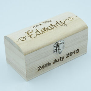 Personalised Engraved Small Wooden Treasure Chest