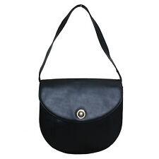 LANVIN VINTAGE BLACK LEATHER SHOULDER BAG