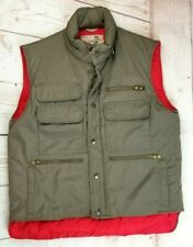 Vintage Sears Fieldmaster Hooded Pocket Vest Olive Med Outdoors Shooting Hiking