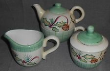 6 pc Set Zrike HOLIDAY/CHRISTMAS PATTERN Creamer/Sugar/Stacking Teapot w/Cup