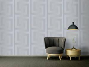 Silver Genuine Versace Wallpaper Greek Key Satin Designer 935235 Modern 70cm