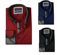 Mens Casual Double Collar Slim Fit Formal Shirt Italian Design Long Sleeve DC24
