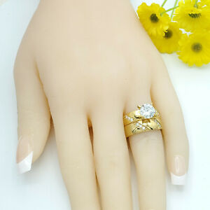 Stainless Steel Yellow Gold Plated Rings Band CZ Womens Wedding Sets.
