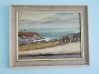 Oil - Canvas painting welsh Impressionist Beach Scene landscape wales