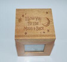 Te amo a la Luna & Estrellas Caja de Foto de Madera de Roble Caja Cubo Recuerdo