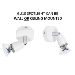 Modern Adjustable Mains 240v GU10 Single Wall Ceiling Spotlight White Lighting