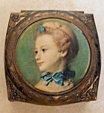 Vintage Metal Jewelry Trinket Box La Femme au  Chat Peronneau Ornate Red Velvet