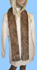 NEW WOMENS SOFT BROWN MINK FUR SECTIONS SCARF MUFFLER 64 inch FUR ON BOTH SIDES