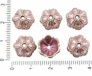 14pcs Antique Silver Tone Patina Wash Large Bead Tassel Cap Flower Floral Rou...