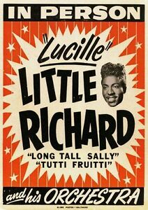 1950's Little Richard Music Concert METAL TIN SIGN POSTER WALL PLAQUE