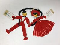 Vintage Hallmark Die Cut Greeting Card Red Flocked Couple Dancing 1950's