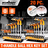 SAE & Metric T Handle Allen Wrench Ball End Hex Key Set w/Storage Stand Long Arm
