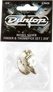 """DUNLOP FINGER & THUMBPICK SET NICKEL SILVER .018"""" GAUGE 5 PACK Free Shipping UK"""