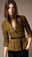 NEW $795 Burberry Symdale Linen 4 Pocket Safari Jacket Blazer, Size US 12 /EU 46