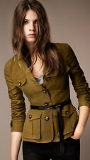 NEW $795 Burberry Symdale Linen 4 Pockets Safari Jacket Blazer, Size US 6 /EU 40