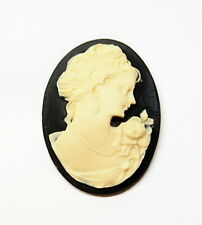 4 of 40x30 mm Cream over Black Rose Victorian Long Neck Corsage Woman Cameos