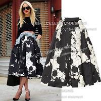 Satin Black and White High Waisted Volume Midi Skirt Australia w Prints 8 10 12