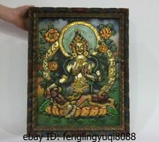 20 Tibet Buddhism wood carved painted Green Tara kwan-Yin Guanyin Thanka thangka