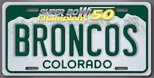 BRONCOS NFL Super Bowl 50 Champions Football License Plate Tag Denver Colorado