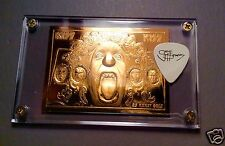 Rare KISS 23kt gold numbered card / Gene Simmons guitar pick display $50+ Retail