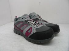 Aggressor Women's Steel Toe Steel Plate Safety Athletic Shoes Gray Pink Size 8M