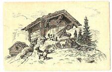 CPA  Fantaisie Paysage de Montagne et chèvres dessin original fantasy postcard